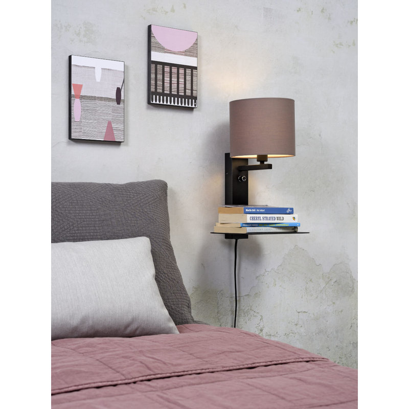 it's about RoMi-collectie Wall lamp Florence shelf+usb+shade 1815 sand grey