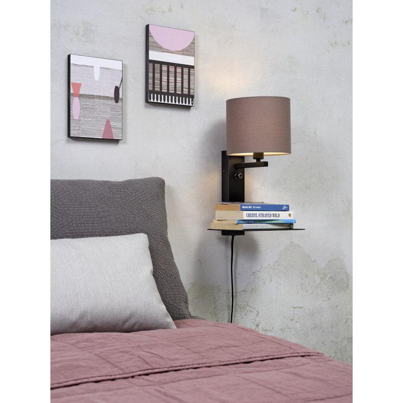 it's about RoMi-collectie Wandlamp Florence plank+usb+kap 1815 sand grey