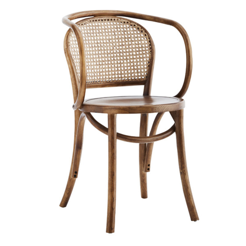 Madam Stoltz-collectie WOODEN CHAIR W/ ARMREST AND RATTAN