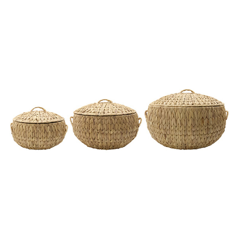 House Doctor-collectie House Doctor  Baskets/Storages Rata Natural Set of 3 sizes S: h: 16 cm dia: 27 cm M: h: 21 cm dia: 34 cm L: h: 26 cm dia: 41 cm