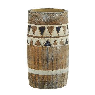 Madam Stoltz Terra cotta vase - Brown, ivory, black