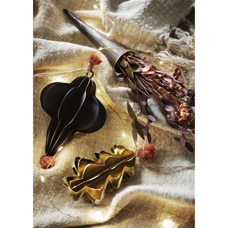 Madam Stoltz-collectie Kersthanger kerstboom zwart rond met kwastje