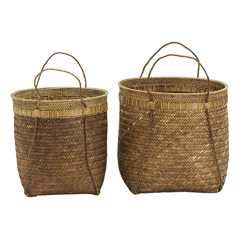 House Doctor-collectie House Doctor  Baskets Balie Nature Set of 2 sizes Finish/Colour/Size may vary h: 43 cm dia: 45 cm h: 40 cm dia: 40 cm