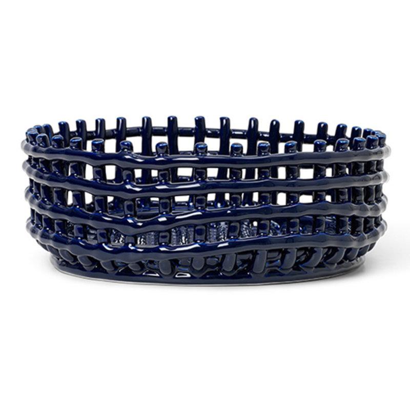 ferm LIVING-collectie Keramiek mand - laag - blauw