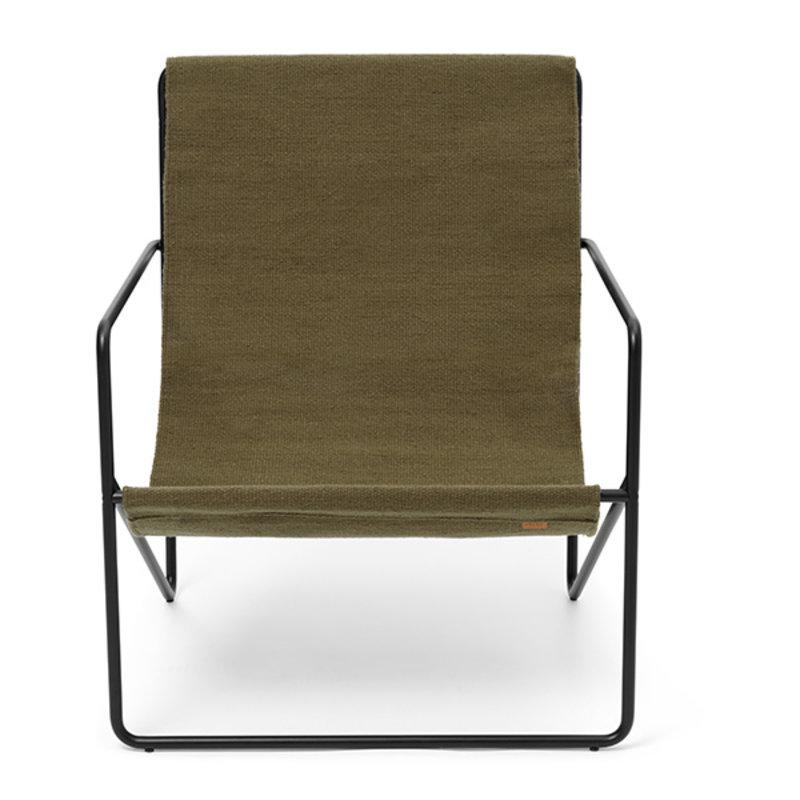 ferm LIVING-collectie Desert Chair - zwart/olijfgroen