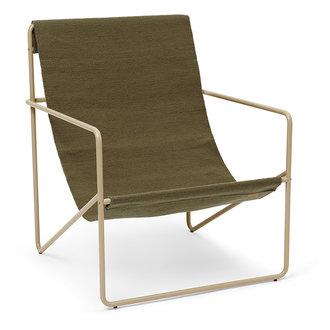 ferm LIVING Desert Chair - Cashmere/olijfgroen