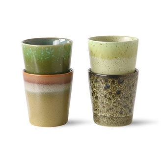 HKliving 70s ceramics: coffee mugs, spring greens (set of 4)