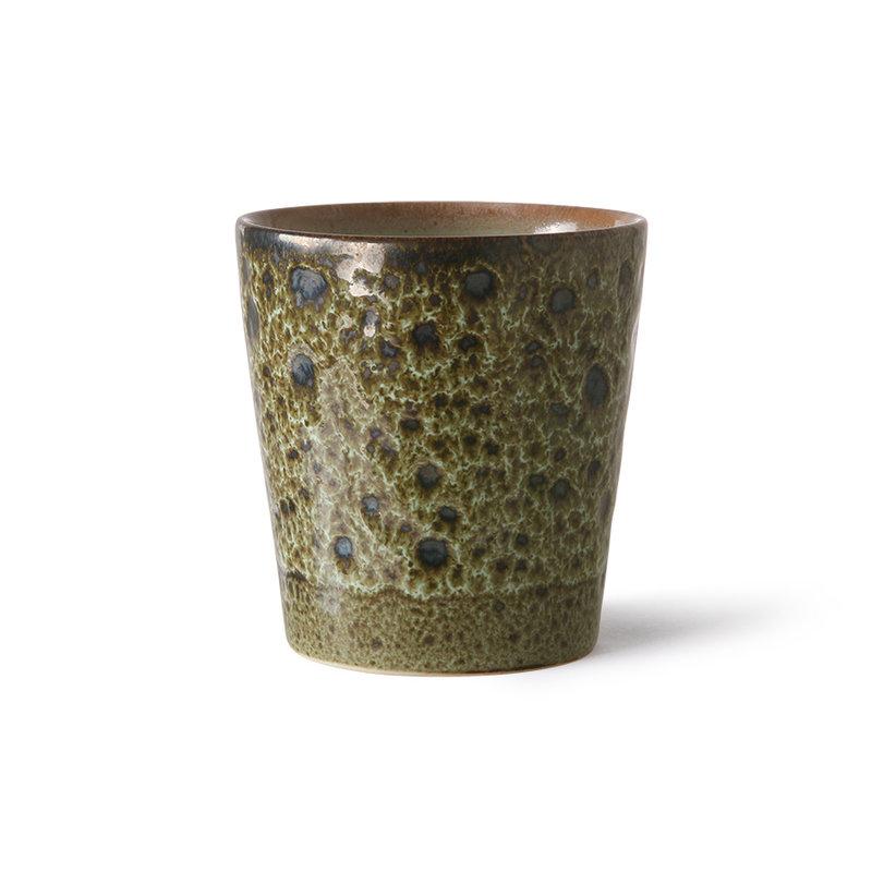 HKliving-collectie 70s ceramics: coffee mugs, spring greens (set of 4)