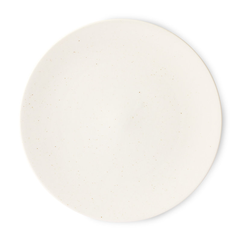 HKliving-collectie Kyoto ceramics: japanese large dinner plate white speckled