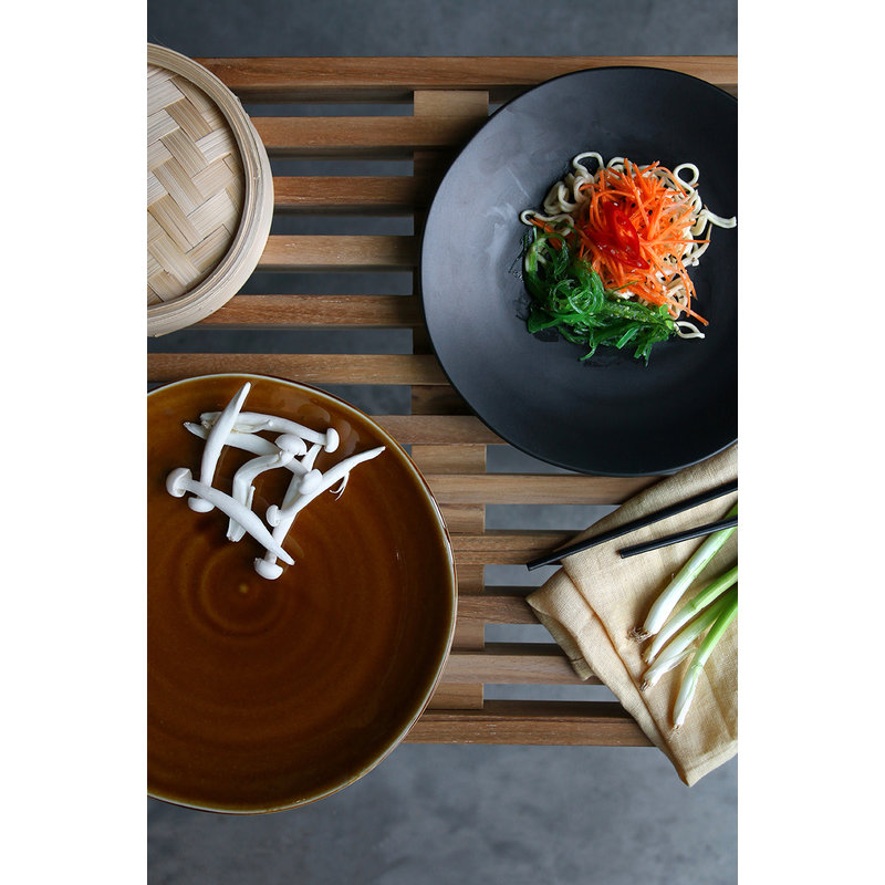 HKliving-collectie Kyoto ceramics: japanese dinner plate matt black