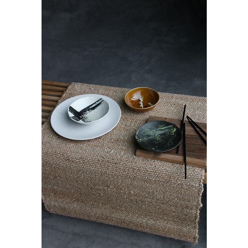 HKliving-collectie Kyoto keramiek Japans dessert bord matzwart