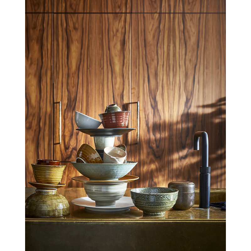 HKliving-collectie Kyoto keramiek Japans rijstschaaltje white speckled