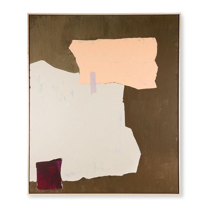 HKliving-collectie Abstract schilderij mosterd/nude 100x120cm
