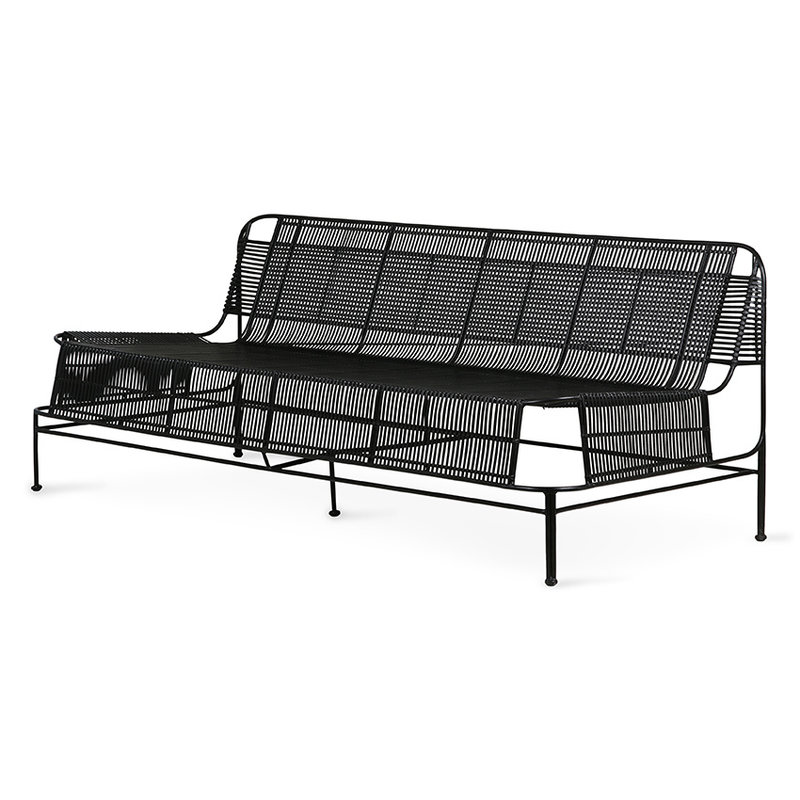 HKliving-collectie woven outdoor lounge sofa black