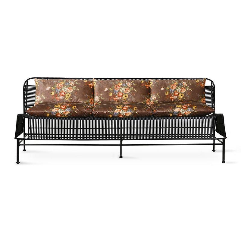 HKliving-collectie Gevlochten outdoor lounge sofa zwart