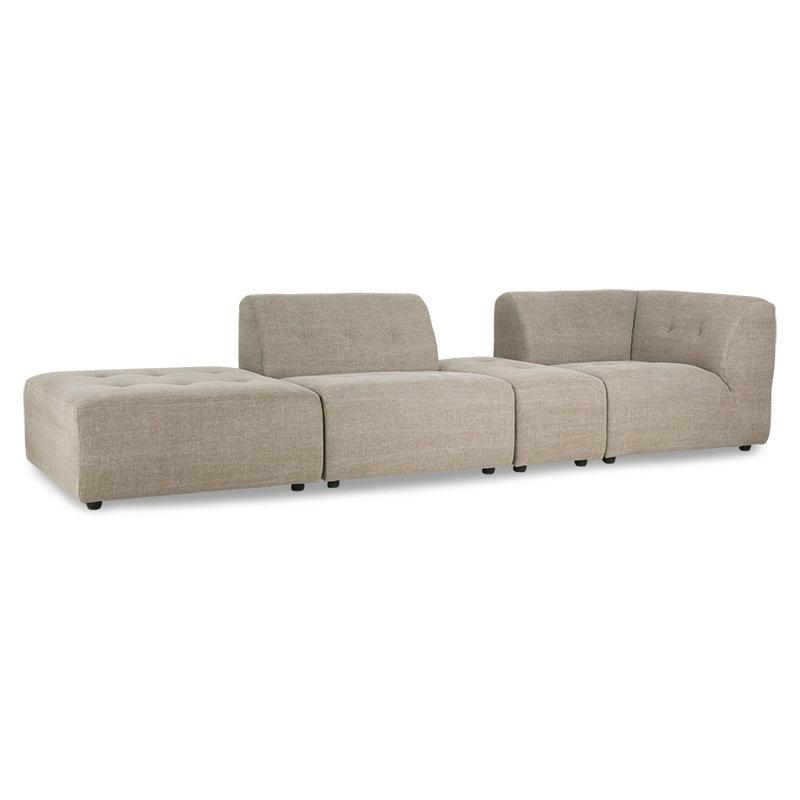 HKliving-collectie vint couch: element hocker, linen blend, taupe