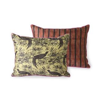 HKliving DORIS for HKLIVING: printed silk cushion jungle (30x40)
