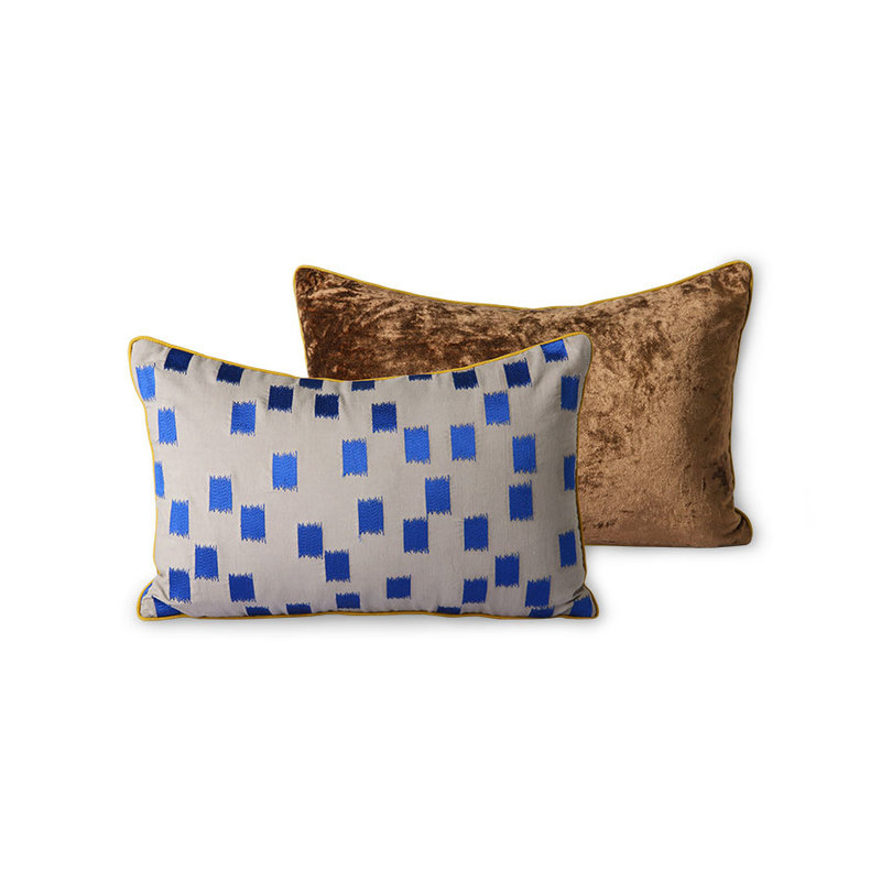 HKliving-collectie DORIS for HKLIVING: stitched cushion blue brush (25x40)