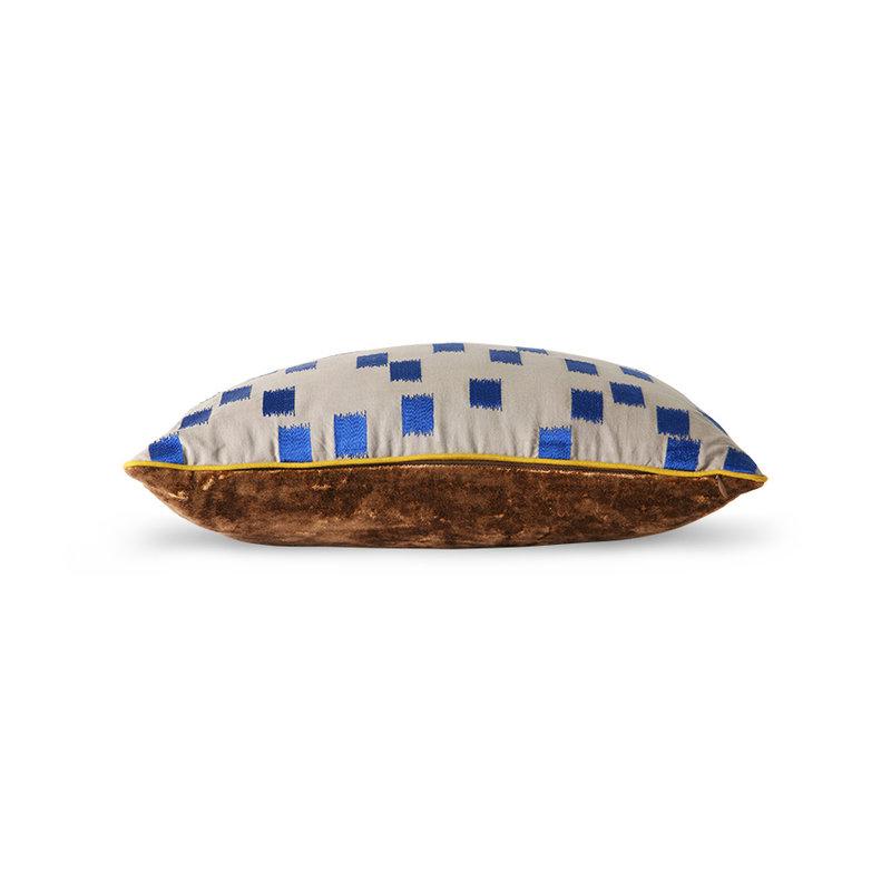 HKliving-collectie DORIS for HKLIVING: gestikt kussen blue brush (25x40)