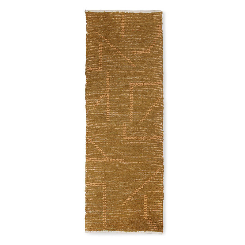 HKliving-collectie hand woven cotton runner mustard/honey (70x200)