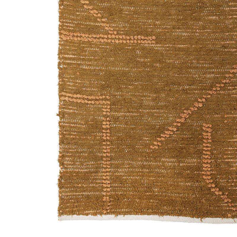 HKliving-collectie Handgeweven katoenen loper mosterd/honing (70x200)
