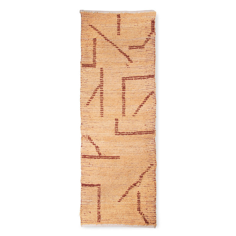 HKliving-collectie Handgeweven katoenen loper perzik/mokka (70x200)