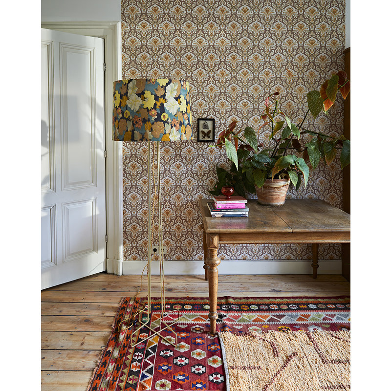 HKliving-collectie hand woven cotton runner peach/mocha (70x200)