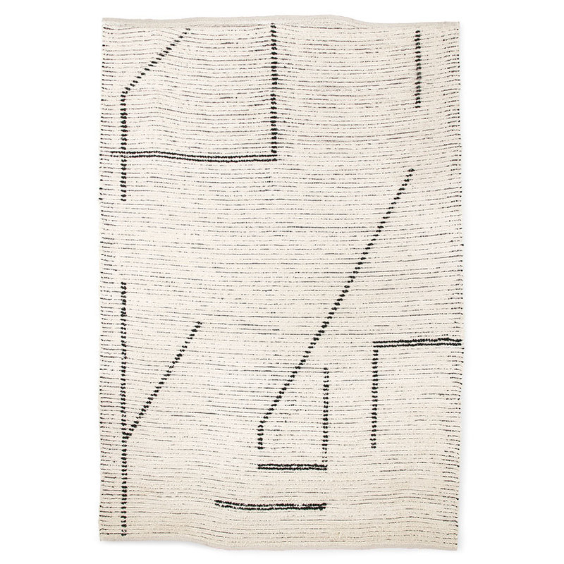 HKliving-collectie hand woven cotton rug cream/charcoal (200x300)