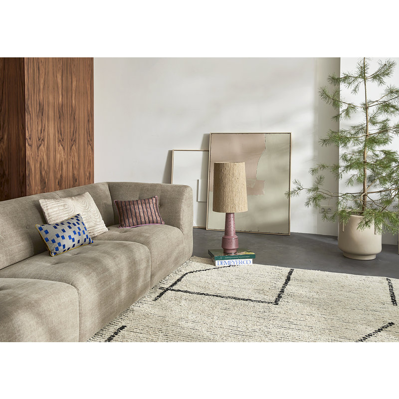 HKliving-collectie Handgeweven katoenen vloerkleed creme/charcoal (200x300)
