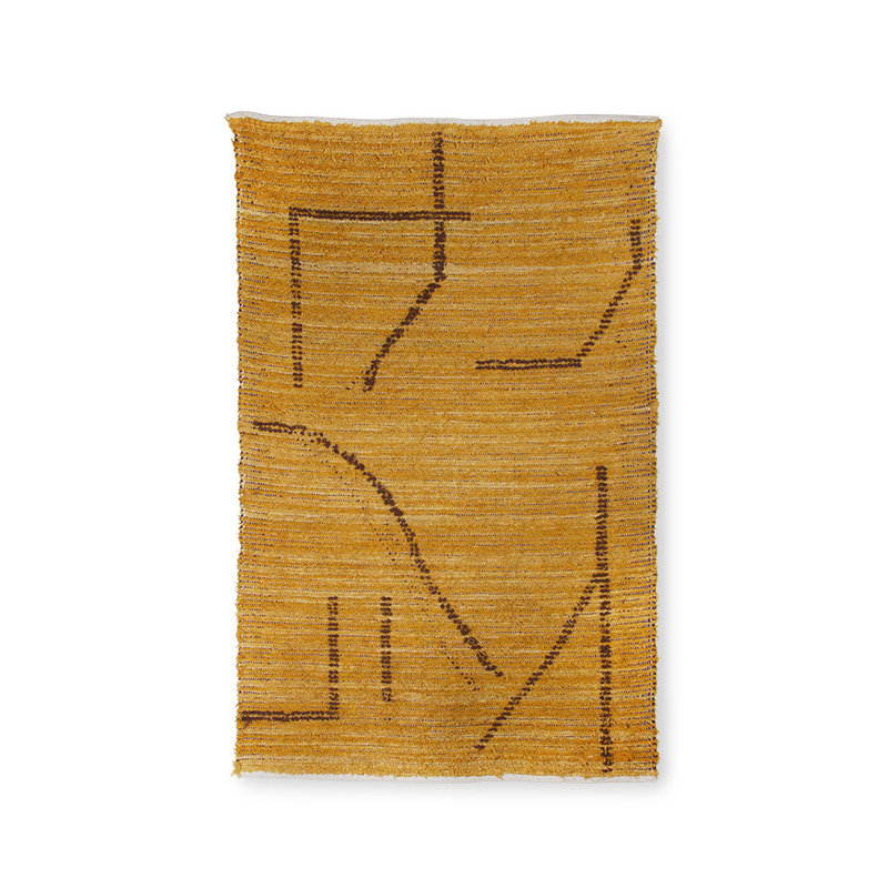 HKliving-collectie hand woven cotton rug ochre/brown (120x180)