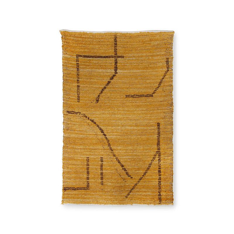 HKliving-collectie Handgeweven katoenen vloerkleed oker/bruin(120x180)