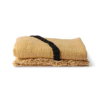 HKliving Zacht  geweven plaid oker met zwart tufted strepen (130x170)