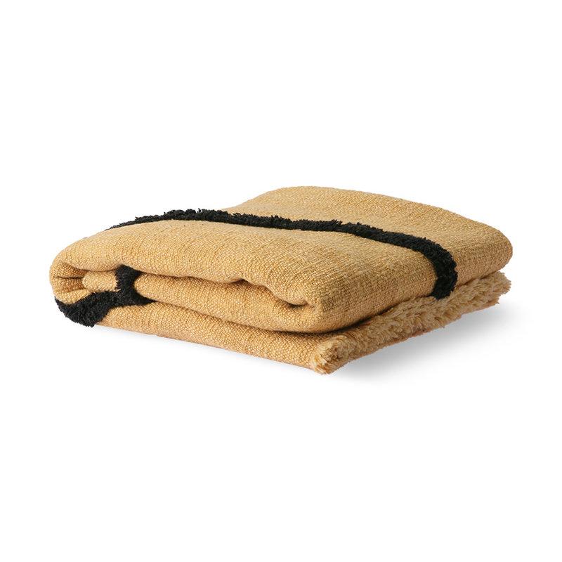 HKliving-collectie Zacht  geweven plaid oker met zwart tufted strepen (130x170)