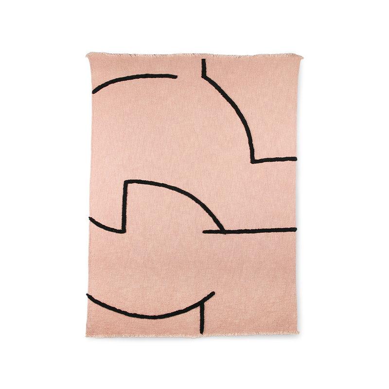 HKliving-collectie Zacht  geweven plaid nude met zwart tufted strepen (130x170)