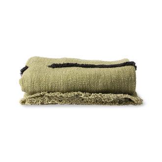 HKliving Zacht  geweven plaid pistachio met zwart tufted strepen (130x170)