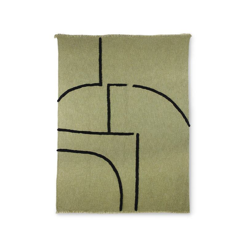 HKliving-collectie soft woven plaid pistachio with black tufted lines (130x170)