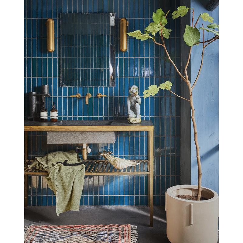 HKliving-collectie Zacht  geweven plaid pistachio met zwart tufted strepen (130x170)