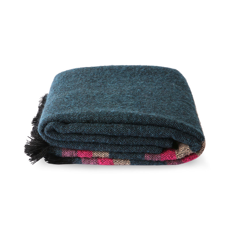 HKliving-collectie DORIS for HKLIVING: fluffy plaid blauw (130x150)