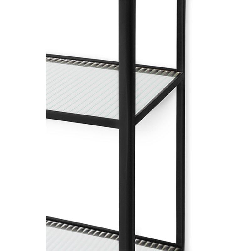 ferm LIVING-collectie Boekenkast Haze zwart gestreept glas
