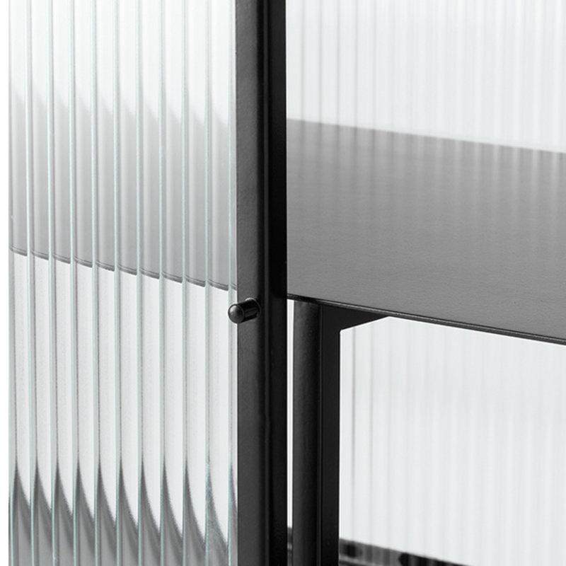 ferm LIVING-collectie Haze Vitrine - Reeded glass Black