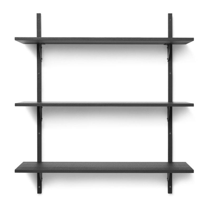 ferm LIVING-collectie Houten wandrek Sector Shelf T/W - zwart Ash-zwart Brass
