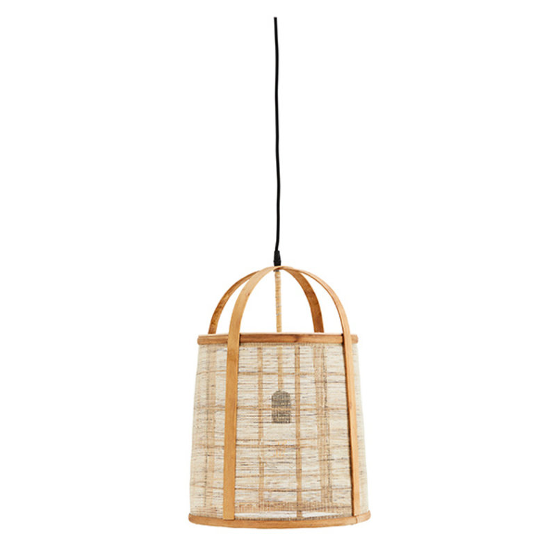 Madam Stoltz-collectie Bamboo ceiling lamp w/ linen