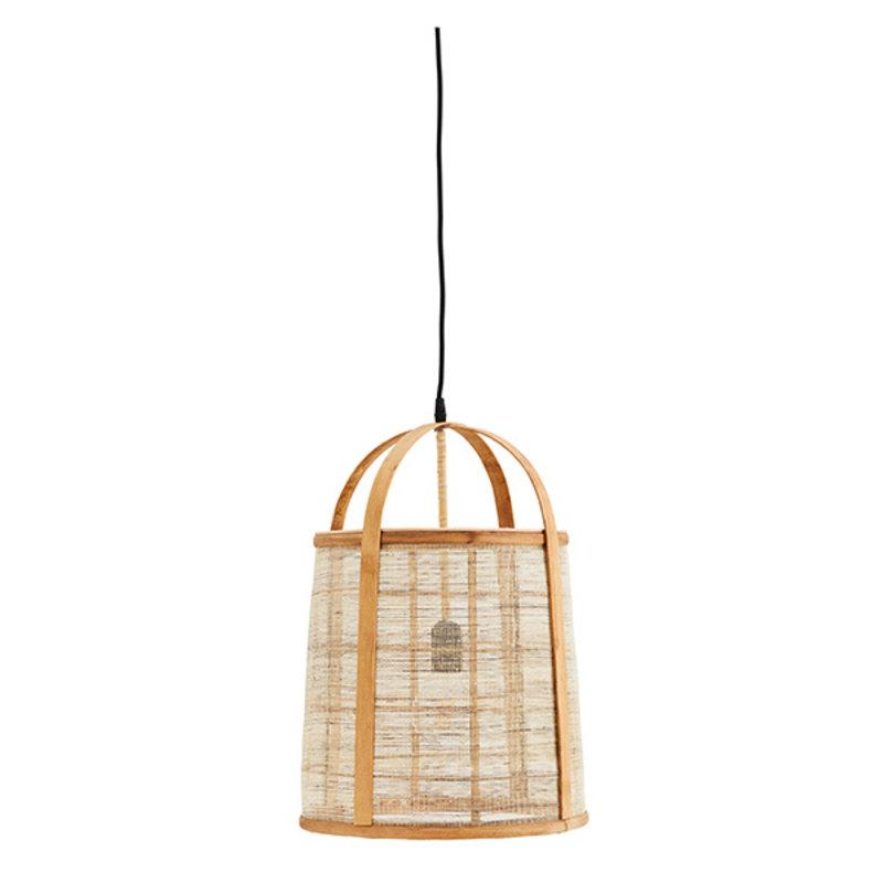 Madam Stoltz-collectie Hanglamp bamboe met linnen