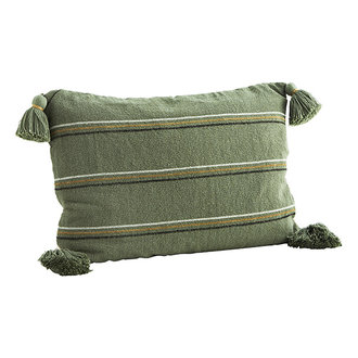 Madam Stoltz Striped cushion cover w/ tassels