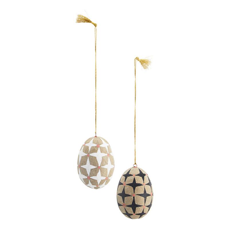 Madam Stoltz-collectie Handpainted papier mache eggs