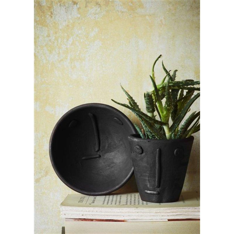 Madam Stoltz-collectie Handmade clay flower pot w/ face imprint