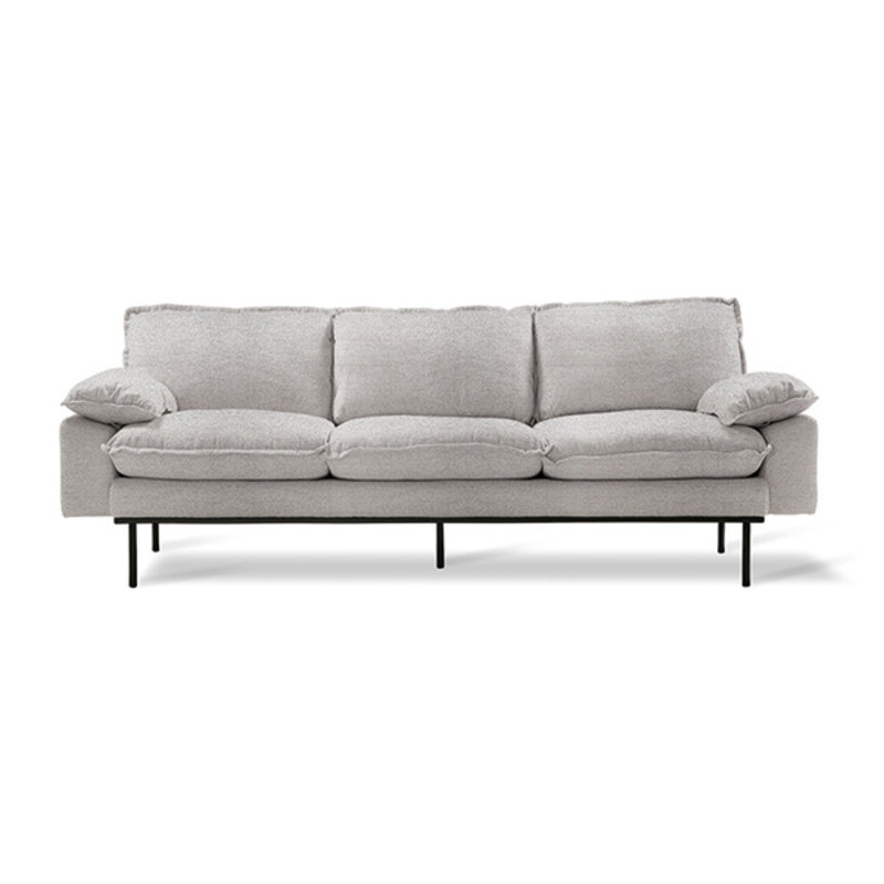 HKliving-collectie Retro sofa 3-zits bank sneak lichtgrijs