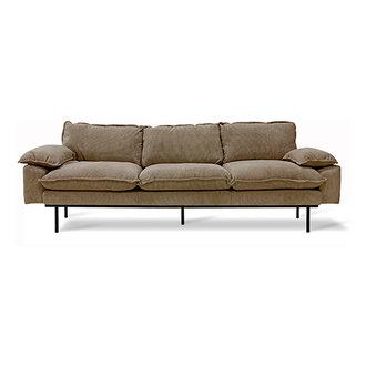 HKliving Retro sofa: 4-seats, corduroy rib, brown
