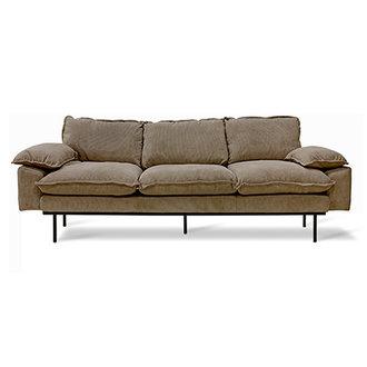 HKliving Retro sofa: 3-seats, corduroy rib, brown
