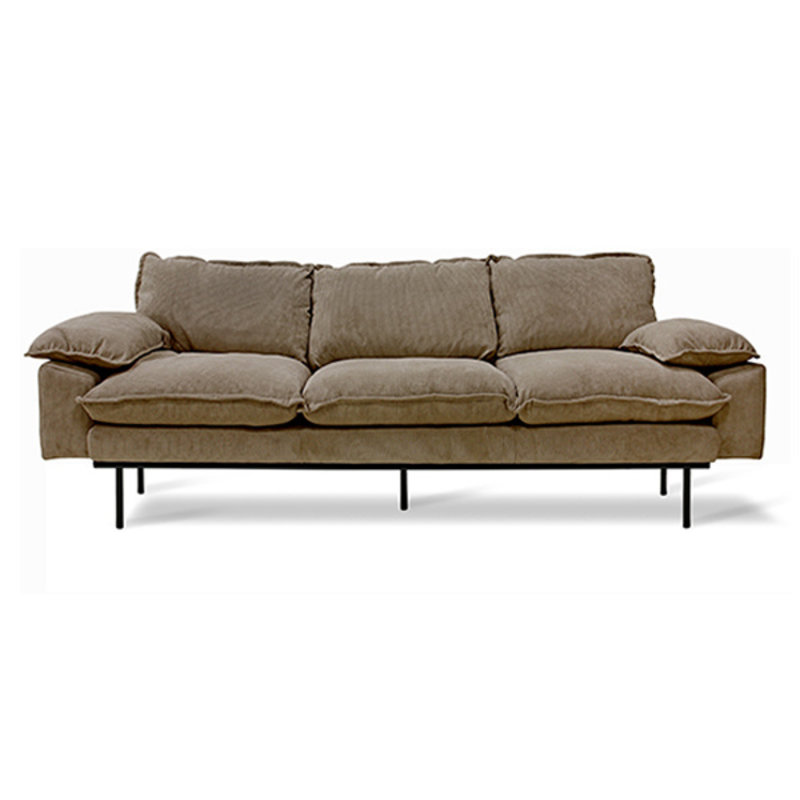 HKliving-collectie Retro sofa: 3-seats, corduroy rib, brown